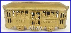Antique cast iron train AC Williams trolley car MAIN STREET bank
