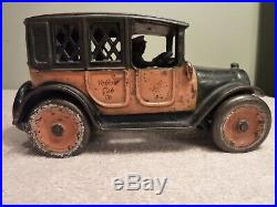 Arcade Cast Iron Taxi Yellow Cab Bank 8 1920's Very Nice