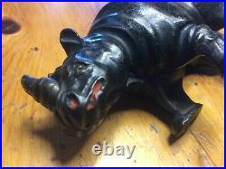 Arcade cast iron Rhino still bank rare in very good shape