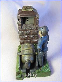 Artillery Bank. Cast iron, Mechanical Bank, Stevens Co, 1900