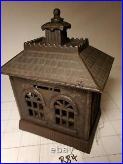 B-84 ANTIQUE CAST IRON LARGE STATE BANK BUILDING KENTON withkey, GOOD CONDITION