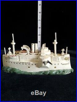 Battleship Oregon cast iron still bank J&E Stevens co RARE