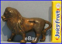 Big Price Cut Old Orig Smallest Lion Cast Iron Bank 2 1/2 High So Tiny Bk779