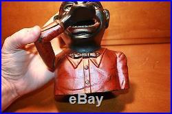 Black Americana Cast Iron Jolly N Mechanical Bank J & E Stevens c1882