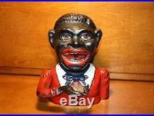 Black Americana Cast Iron Jolly N Mechanical Bank John Harper England c 1890S