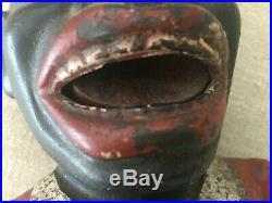 Black Americana Cast Iron Mechanical Jolly Man Bank English Harper circa 1920
