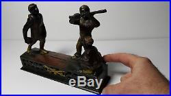 Black Americana DarkTown Battery Baseball Cast Iron Mechanical Bank J&E Stevens