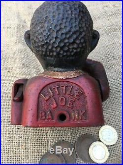 Black Americana Genuine 1920s Antique Negro Little Joe Bank Cast Iron Moneybox