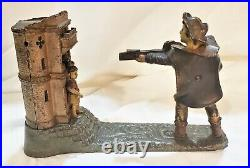 C1896 Antique Cast Iron Mechanical Bank J. E. Stevens William Tell Great Paint