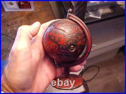 C1900 Revolving GLOBE ON ARC Red Cast Iron Still Bank ALL ORIGINAL, No Repaint