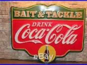 COCA COLA BAIT & Tackle metal sign soda fountain fish fishing lure rapala hunt