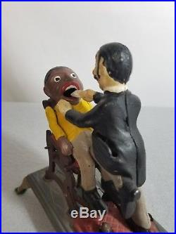 CRESCENT DENTAL USA Black Americana Dentist Die Cast Iron Mechanical Bank