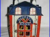 C. 1873 J. & E. Stevens Cast Iron Mechanical Novelty Bank Red, White & Blue