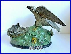 C. 1883 J. &. E. Stevens Cast Iron Eagle & Eaglets Mechanical Bank