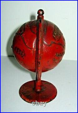 C. 1903-1908 Grey Iron Casting Globe on Arc Cast Iron Still Bank