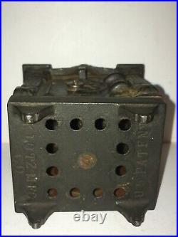 C. 1913-1915 Klotz Mfg. Fancy Copper Electroplate Hexagon Door Safe Bank W Key
