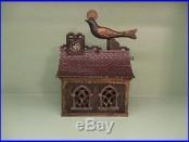 Cast Iron BIRD ON ROOF Mechanical Bank Original Antique Americana Toy