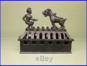 Cast Iron BOY AND BULLDOG RARE Mechanical Bank Original Antique Americana