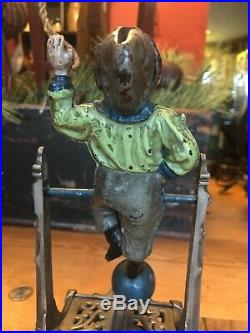 Cast Iron BOY ON TRAPEZE Mechanical Bank Original Antique Toy