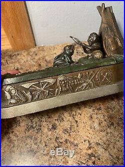 Cast Iron CHIEF BIG MOON Mechanical Bank Original Antique Americana Toy