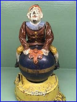Cast Iron CLOWN ON GLOBE Mechanical Bank Original Antique Americana Toy