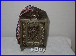 Cast Iron Jewel Safe Still Bank with Grill, Embossed Sides and Top