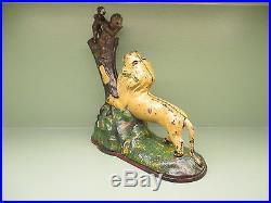 Cast Iron LION AND TWO MONKEYS Mechanical Bank EXCELLENT+ Original Antique