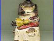 Cast Iron MAMMY AND CHILD Mechanical Bank Original Antique Americana Toy