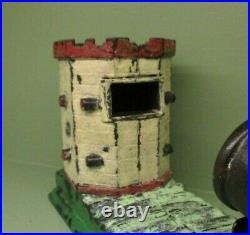 Cast Iron OCTAGONAL FORTRare Mechanical Bank Antique Americana Toy