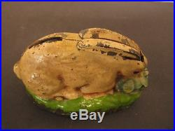Cast Iron Rabbit in Cabbage Patch Mechanical Bank Mfg Kilgore Rare and Very Nice