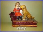 Cast Iron SPEAKING DOG Mechanical Bank Original Antique Americana Toy
