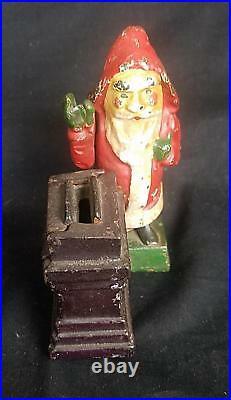 Cast Iron Santa Claus Mechanical Bank Shepard's Hardware Original