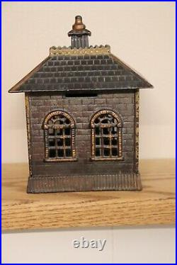 Cast Iron State Bank 7 inches tall exceptional condition