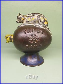 Cast Iron TABBY BANK Mechanical Bank Original Antique Americana Toy