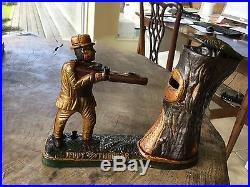 Cast Iron Teddy And The Bear Mechanical Coin Bank Theodore Roosevelt
