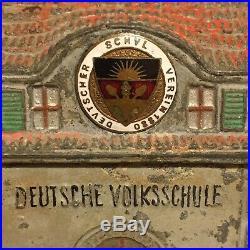 Cast Metal German Deutsche Volksschule Building Bank