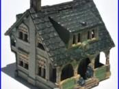 Cast iron still coin bank house cottage antique