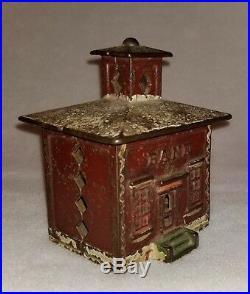 Circa 1872 J & E Stevens Cast Iron Cupola Bank all Original Paint 4-1/8 high