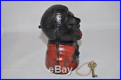 Circa 1882 Cast Iron Uncle Tom Mechinacal Bank with key Made by Kyser & Rex