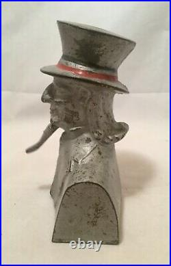 Circa 1900's Antique Cast Iron Penny Bank Uncle Sam Bust With Moving Goatee