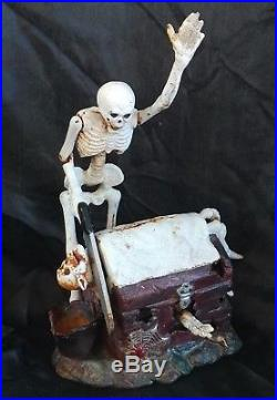 Decapitating Skeleton Treasure Chest Mechanical Cast Iron Bank