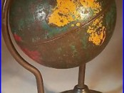 Early 1900s Antique Arcade Cast Iron Globe on a Wire Bank