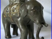Early 1900s Small Elephant With Howdah Cast Iron Bank Moving Trunk A. C. Williams