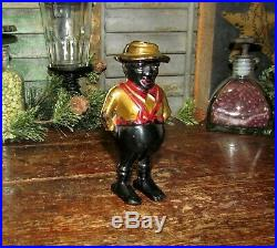 Early Antique Vtg A C Williams Cast Iron Darkey Sharecropper Still Penny Bank