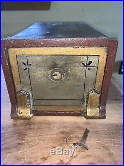 Early Rare & Antique Cast Iron Decorated Safe Bank Money Box With KEY