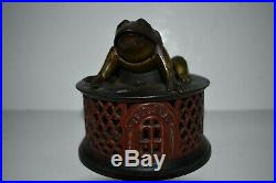 Frog On Lattice Original Cast Iron Mechanical Bank, Super Nice, No Reserve