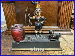 Genuine Antique 1920s Cast Iron Hubley, Trick Dog, Mechanical Bank NOT A REPRO
