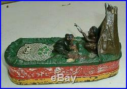 Genuine CHIEF BIG MOON cast iron MECHANICAL BANK rare Multi-color Org&STRONG