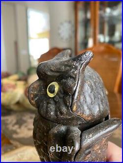 Genuine Owl Cast Iron Mechanical Bank J & E Stevens, Circa 1880 NOT A REPRO