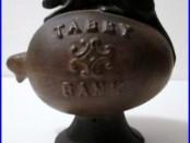 HTF C1886 Antique Cast Iron TABBY BANK Mechanical Bank J & E Stevens Co